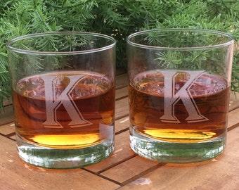 Rocks Glasses-Monogram-Engraved-Whiskey Glasses-(Set of 2)
