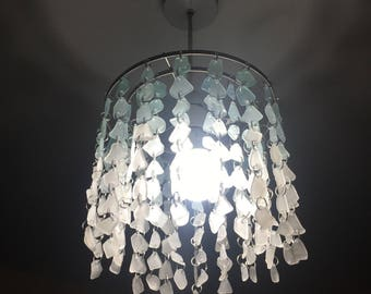 One of a kind! Authentic sea glass ceiling lamp shade. Shades of blue and clear ombre. Pendant, chandelier