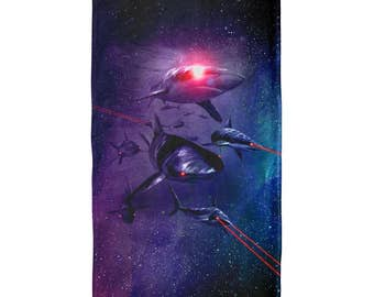 Galaxy Laser Sharks In Space All Over Beach Towel