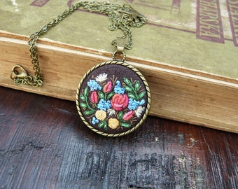 Boho floral, jewelry, embroidery necklace, embroidered pendant, bronze tone, needlework, swallow necklace, bird, terrarium, Romantic roses,