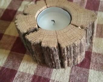 SALE Rustic Candleholder, Primitive, Natural, Handmade
