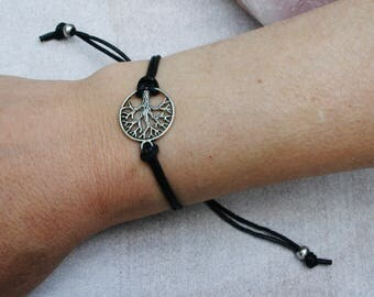 1 Piece Cotton Wax Tree Of Life Bracelet Black