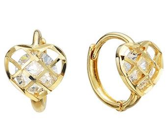 14k Solid Yellow Gold Hoop Earrings Heart 6547 Charming Heart Design Lovely