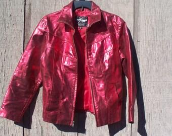 Ladies Wilsons Leather Ruby Red Metallic Jacket, Size Medium