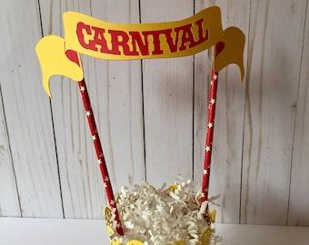 Circus-Carnival-Big top cake topper-Carnival party-Circus cake bunting-Smash cake topper-Circus birthday decorations-Carnival cake topper