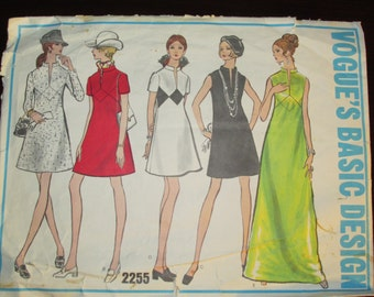 """Vintage 1960s Vogue 2255 Basic Design One-Piece Dress Sewing Pattern High Fitted Cut / Complete Bust 31.5"""""""