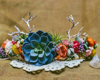 Custom full coverage succulent floral Crown, baby and momma size on a ribbon! Stays on well and is perfect for any season!!