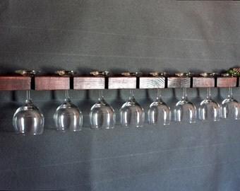 Wine Glass Rack, Stemware Rack, Wall Mounted Stemware Rack, Wine Glass Shelf, Barware, Hostess Gift, Wedding Gift, Anniversary Gift