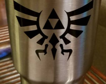 Legend of Zelda crest Decal - permanent vinyl - perfect for Yeti/Rtic cups, laptops, tablets, cell phones, coolers. etc. Decal only.