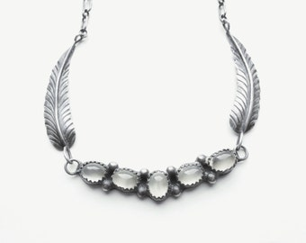 Lovely Dream • Vintage Handmade Navajo Sterling Feather + Moonstone Necklace