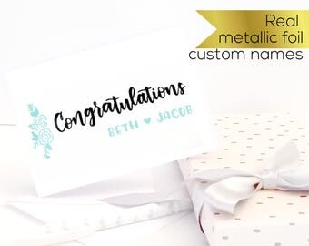 Custom wedding card, Custom engagement card. Congratulations card, Personalised greeting card. Gold foil modern greeting card, wedding gift