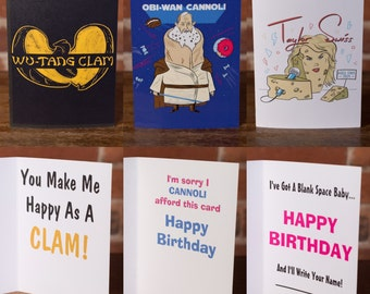 2 Cards - 6 Bucks - Any Style! Funny, Greeting Card, Foodie, Joke, Humor, Urban, Laugh, Gift, Friend, Punny, Movies, Music, Pop Culture