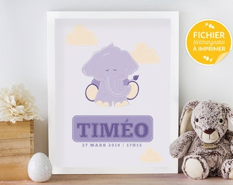 Custom poster child's room, print yourself - gift, displays doudou elephant