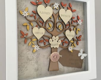 Personalised Family Tree Hanging Wall Art, Family Tree Frame, gifts for her, Family Tree with hearts, Family gift, Grandchildren Tree