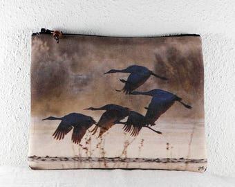 Cotton Coin Purse with Bosque del Apache Sandhill Cranes Flying Brown Photo Print