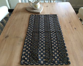 Patchwork table runner, quiltedtable runner, genuine Indonesian batik table runner , table centrepiece in black and gold cotton batik fabric