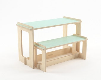 Table and bench, kids play table, wood bench, kids table, toddler table and chairs set, kids furniture, nursery furniture, kids room