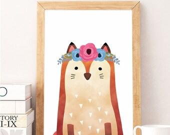 SALE Fox Print, Nursery Woodland Wall Art, Forest Animals, Baby Forest Print, Printable Woodlands, Woodland Animals, Nursery Forest Fox Face
