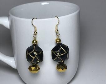 Gold Earrings, Black Earrings, Black and Gold Earrings