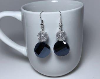 Black Earrings, Silver Earrings, Black and Silver Earrings, Crystal Earrings, Black Crystal Earrings, Silver Wire Earrings, Black Crystal