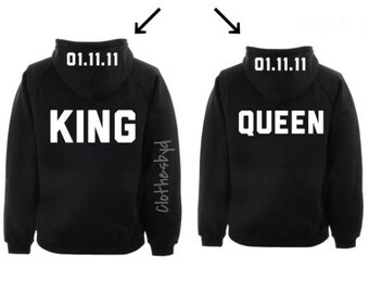 King Queen Custom Date Anniversary Gift Hoodies Couples Matching