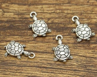 30pcs Turtle Charms Tortoise Charms Animal Charms Antique Silver Tone 12x19mm cf2702