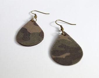 Leather Earrings: Small Leather  Tear Drop Earrings--Sapling Style Earrings Camo Green Camouflage Earrings
