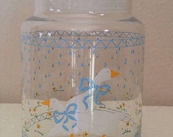 Vintage Country Goose Glass Kitchen Storage Jar, Vintage Kitchen Goose Glass Storage Jar, Vintage Kitchen, Vintage Storage