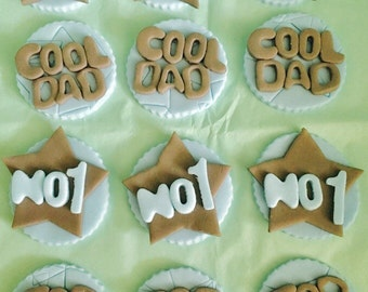 Father's Day No1, Cool & Top Dad Cupcake Toppers