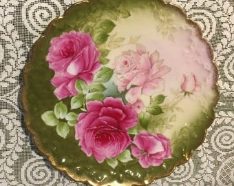 Antique Hand Painted Porcelain Plate with Roses and Gold Trim