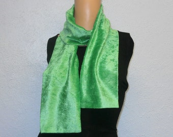 Lime Green Crushed Velvet Scarf 15 cm x 150 cm Women's / Ladies Lovely Soft And Warm Great Accessory Gift