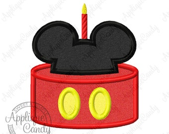 Mr Mouse Cake Applique #2 Machine Embroidery Design 4x4 5x7 6x10 Birthday Party Candle INSTANT DOWNLOAD
