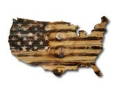 Wooden USA Burnt Flag, Rustic Wooden American Flag, Reclaimed Wood, Handmade, Wooden Flag