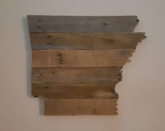 Arkansas State Sign, Reclaimed Wood