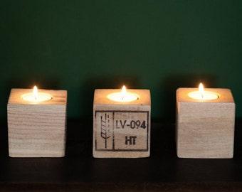 Upcycling tea light holders set of 3 wooden pallet