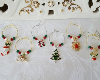 Christmas Wine Charms - Red (Set of 6)
