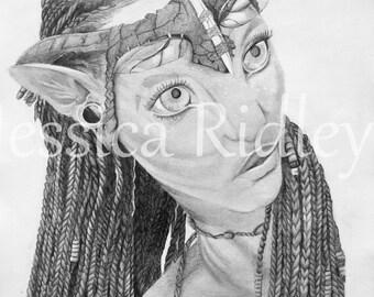 ORIGINAL Avatar Neytiri pencil sketch