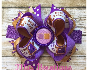 Peanut Butter and Jelly Hair Bow, Best Friends Hair Bow, Stacked Boutique Bow, Girl Hair Bow, ...