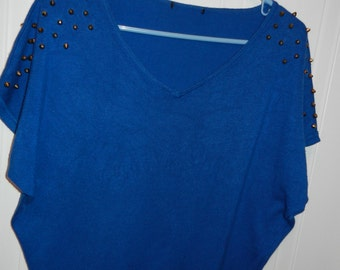 T-shirt royal blue knit - L - XL (BAT style)