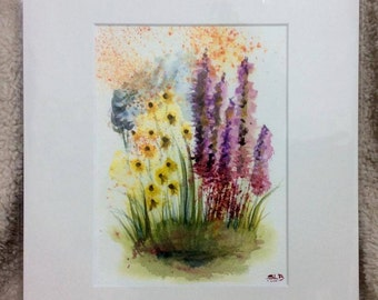 """Yellow and Pink Blooms 12"""" x 10"""" original watercolour painting"""