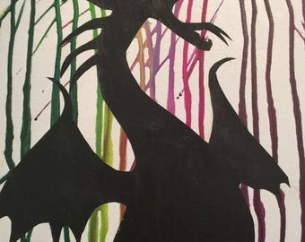 maleficent crayon canvas