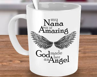 Nana Guardian Angel Mug | Sympathy Mug | Bereavement Mug | Memorial Gift Mug | Grief Mug | Memorial Mug | Angel Wings | Remembrance Mug