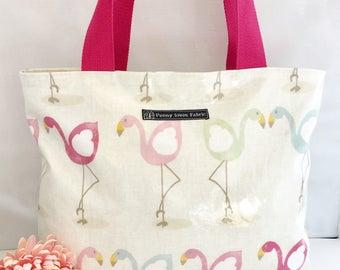 Flamingo bag, flamingo tote bag, fabric bags, vinyl tote bag, flamingo print, beach bag, work bag, diaper bag, flamingo gifts, shopping bag