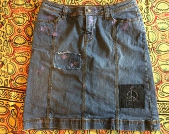 Upcycled Faded Denim Skirt with Patches and Paint and Peace Sign Size 8