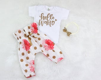 baby girl coming home outfit/hello world outfit/glitter outfit/organic cotton