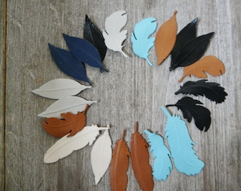 set of 20 leather feathers, for customizing and creating from 4 to 6.5 cm