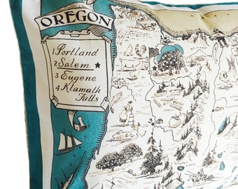 Oregon Vintage Map Pillow Cover with Insert