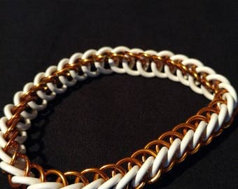 Orange and White Stretchy Chainmaille Bracelet