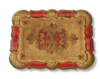 Old Florentine rectangular tray 1960's. Vintage Italian Florentine Serving Tray. Shabby Hand Painted Gold and Red Cocktail Tray