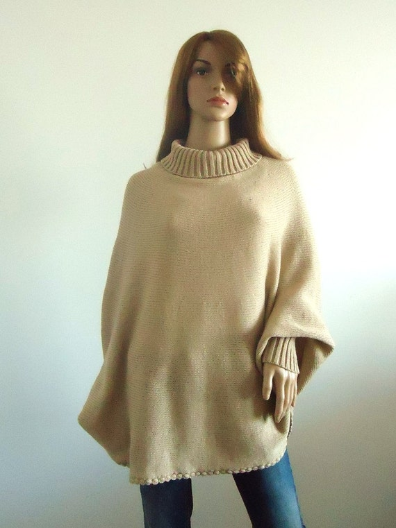 Elegant warm poncho turtleneck sweater Loose fit beige Loose women sweater wheat Hand knitted Women's Clothing knitted jumper 100% hand made